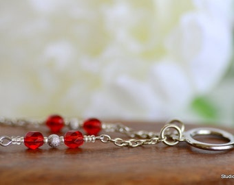 Eyeglass Chain, Silver Lanyard, Ruby Red Glasses Chain Loop, Silver Eyeglass Necklaces, Beaded ID Lanyard, Silver Eyeglass Chain, Canada