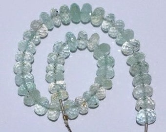 8 inch long strand faceted AQUAMARINE rondelle BEADS 4*8 -- 6*8 mm