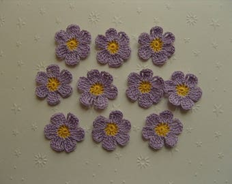 Crocheted appliques, set of 10 purple and yellow flowers