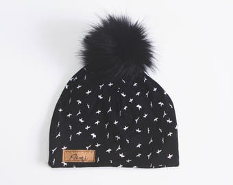 Tuque - Black with birds organic bamboo