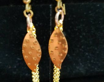 Embossed Leaf and Chain Earrings.