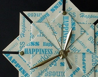A Great 1st Anniversary/ Wedding Gift Suggestion - Happiness Origami  Clock - Large - In Blue