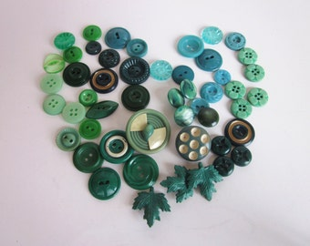 Buttons, 1950's, Various Shades of Green