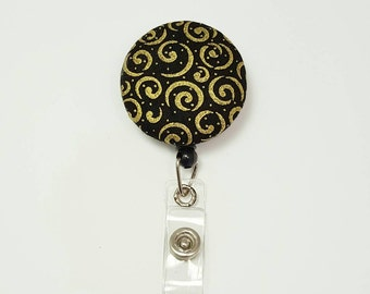 Retactable ID Badge Reel / ID Badge Holder / Name Badge Clip / Badge Pull / Button Badge Holder - Gold Swirls on Black