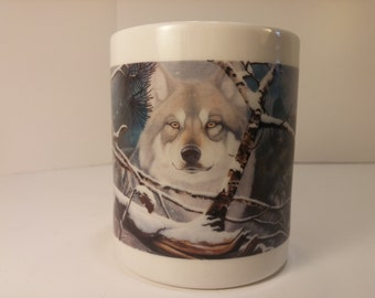 Vintage National Wildlife Federation Daniel Pierce Eyes In the Mist Wolf Tea Mug, Coffee Mug - Vintage Kitchen, Vintage Coffee, Vintage Tea
