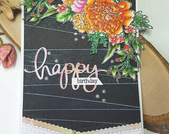 Birthday card, handmade card, card for her, floral card