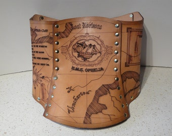 Hard Leather Brown Parchment Map Steampunk Corset. Abney Park. Airship.