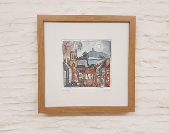 Glastonbury, Original Mixed Media Framed scene by Amy Yates