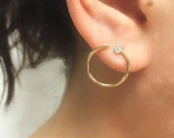 14K Fine Gold Front Facing Open Circle Diamond Hoop Earrings, .06CTW, Hoops, Diamond Earrings, Statement Earring, BrookeMicheleDesigns
