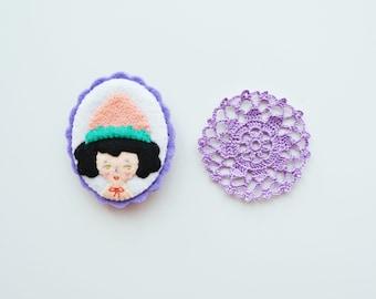 Strawberry Girl Pin / Girl Felt Brooch / Strawberry Brooch / Felt Strawberry Pin / Miniature Portrait / Girl Portrait Brooch