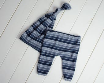 newborn boys hat and pants set photography prop