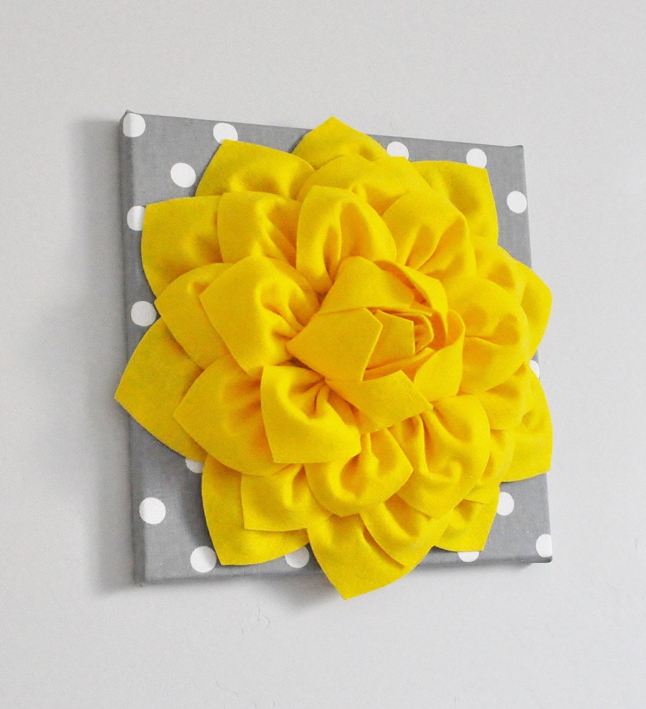 Sunshine Yellow Wall Decor Dahlia Flower Bright colors