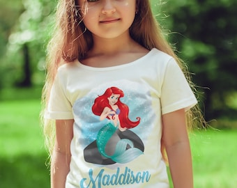 Ariel  personalised  Kids  T-Shirt, Childrens Toddlers  mermaid T Shirt Top.
