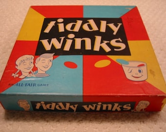 "Vintage ""All+Fair"" Tiddly Winks game . . . very good to excellent condition . . in original box . . made in USA . . by E.E. Fairchild Corp."