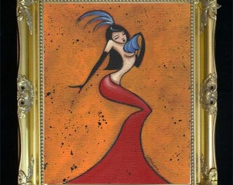 Burlesque Dancer BOOM Elegant Feminine Sexy Woman Colorful Art Print from Original Painting by Shano Red Fan Feathers Unique for the Home