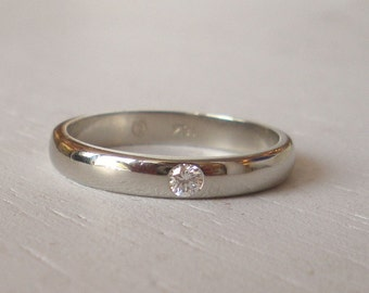 18k White Gold Diamond Wedding Band - Engagement Ring