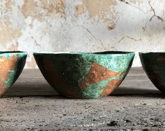 Set of 3 paper mache bowls in turquoise and copper leaf
