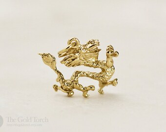 Chinese Dragon Pendant or Charm, 14k or 18k Solid Gold Dragon Pendant or Charm