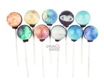 Galaxy Lollipops Planet Designs Lollipops 10 Pieces with Space Gift Packaging by Sparko Sweets