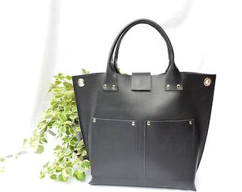 Black leather tote , black tote , black leather bag , large leather bag , black tote , leather totes , large leather bag , modern bag