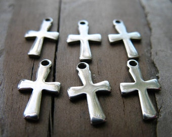 10 Stainless Steel Cross Charms 12mm