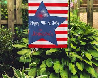 Personalized Garden Flag - Custom monogram Yard Flag 4th of July
