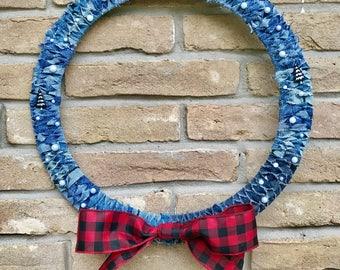 Denim and Plaid Christmas Wreath