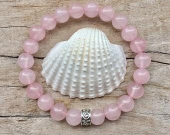 rose quartz bracelet, yoga jewelry, crystal healing bracelet, bohemian jewelry, boho style
