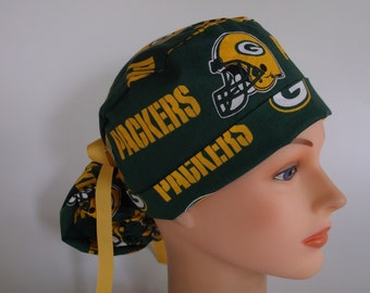 Green Bay Packers fabric Ponytail - Womens lined surgical scrub cap, scrub hat, Nurse surgical cap, F-6380W