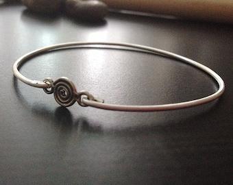 Spiral Link- Custom Bangle - Sterling Silver- Sterling Silver Bracelet