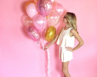 Pink + Gold Giant Balloon Bouquet | Gold Confetti Balloons