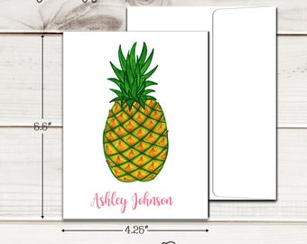 Personalized PINEAPPLE Note Cards - Set of 12 - Blank Inside with Envelopes