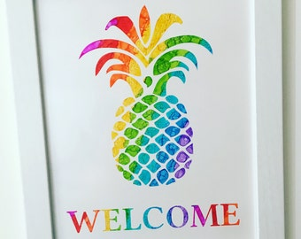 Hand-painted Pineapple Rainbow Ink Painting / Rainbow Pineapple Wall Art / Rainbow Pineapple Welcome Sign