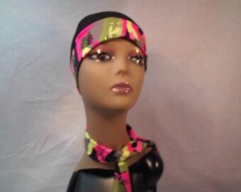black cap multicolor band