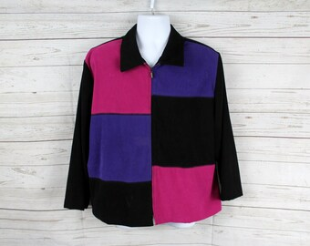 Vintage 90s Briggs Color Block Blouse, Women Size 18 , 90s Fashion, Red/Black/Purple, Full Zip Fitted Jacket, High Fashion