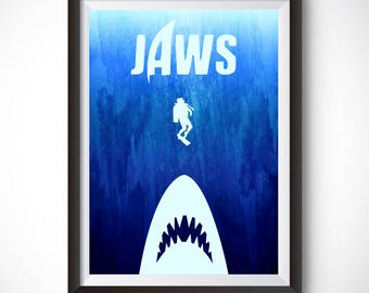 Jaws Poster, Minimalist Poster, Movie