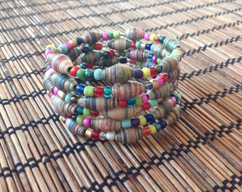 Memory Spring Beaded Multicolor Bracelet with Paper Beads