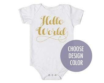 Baby 'Hello World' Cotton One Piece Bodysuit