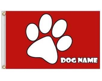 Custom Safety RED Flag White Paw dog Pet