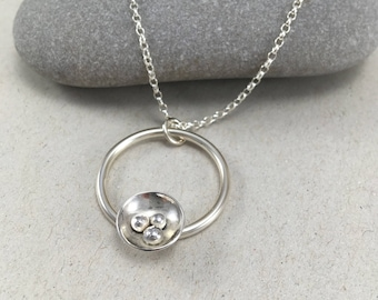 Hammered Sterling Silver Circle Necklace, Hammered British Silver Pendant, Handmade Silver Dome Necklace, Pebble Necklace