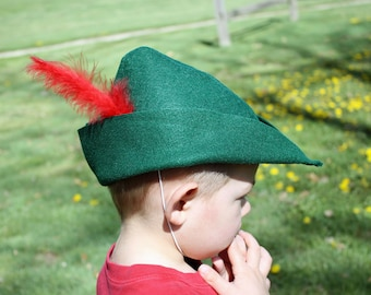Peter Pan Hat Cap Kelly Green Felt Prince Charming Robin Hood