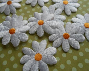Iron-on White Daisies Set of 6  Appliques Embroidered Thermo-Adhesive