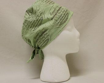 Light Green Seed and Plant Nursery Print Surgical Scrub Cap Chemo Dental Hat