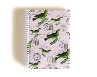 Green Birds Notebook A6 Spiral Bound
