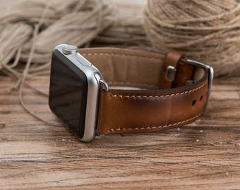 Leather Apple watch band, 42mm, 38mm, Leather watch band, Apple watch strap, Apple watch leather band, Fathers day gift, Brown, Gift #DAAP-3