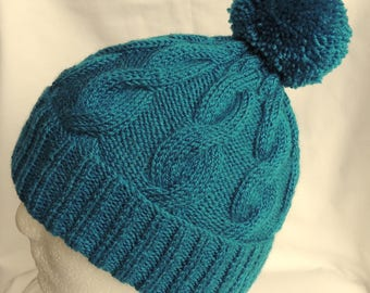 Bobble Hat. Women's / Men's, Teal, Hand Knitted, Cable Beanie Hat With Bobble. To Fit Average Size Head.