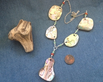 Necklace from Natural Abalone Shell Fragments