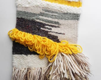 Handmade Woven Wall Hanging // Abstract-Yellow-Grey-White-Green-Fawn // Fiber Art Textile theabstractdaily