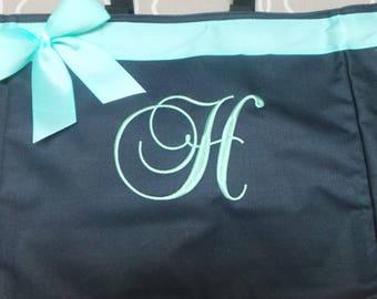 Personalized Bag, Name or Monogrammed Bag Tote Bag Bride, Bridesmaids, Teacher Bag, Gym, Beach, Dance, Nurse bag with ribbon and bow.