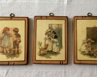 French vintage children's prints mounted on wood